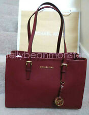 MICHAEL KORS Jet Set Large EW Leather Tote Satchel Bag Purse Brandy Maroon New