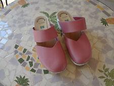 STOCKHOLM swedish clogs PINK leather RUBBER heel  38 US 7.5 FESTIVAL BOHO EUC