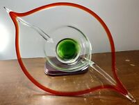 """XLG MCM 60's Murano Sommerso Hand Blown Art Glass Gondola Centerpiece Bowl 21.5"""""""