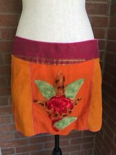 Paul Ropp Boho Mini Skirt Beach Cover-Up Embroidered Lotus Boho Bali Cotton Sz M