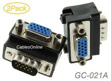 2Pack VGA HD15 Right-Angle 90-degree 15-Pin Male to Female Video Adapters