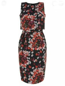 Hobbs Maria Black Red Floral Sleeveless Overlay Occasion Dress size 8