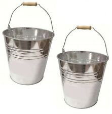 2 x 15L Metal Galvanised Buckets Animal Feed Pet Food Wild Bird Seed Storage Bin