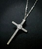 """Diamond Cross Pendant Necklace with 18"""" Inch 14K White Gold Over Chain"""