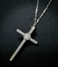 "Diamond Cross Pendant Necklace with 18"" Inch 14K White Gold Over Chain"