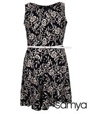 Plus Size Light Weight Navy Blue/Beige Floral Print Mid Dress With Belt Size 16