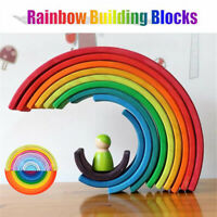 Wooden Rainbow Stacker Building Blocks Stacking Nesting Toys For Baby
