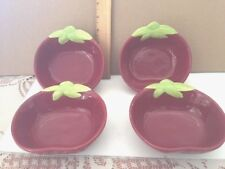Apple Shaped Red Bowls With Leaves, Free Shipping