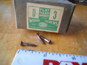 "25pcs 5/8/""X #3 Vintage flat head bright steel Wood Screws  USA NOS old hardware"