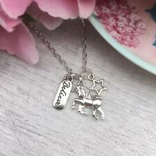 "SILVER Believe UNICORN Necklace Star Charm Cluster PENDANT 16""-18"" Fantasy Gift"