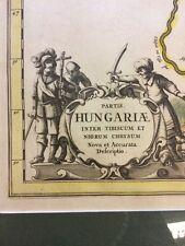 Alter Kupferstich, Landkarte, gerahmt, Ungarn Hungaria