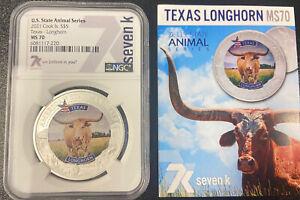 2021 Cook Is. S$5 Texas Longhorn MS70 NGC U.S. State Animal Series