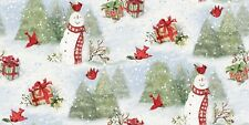 Christmas 69168 Red Snowy Cardinals Scene 100% cotton fabric by the yard