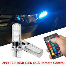 2PC Remote Control Car T10 5050 6LED RGB Silica Gel Reading Light Interior Lamp
