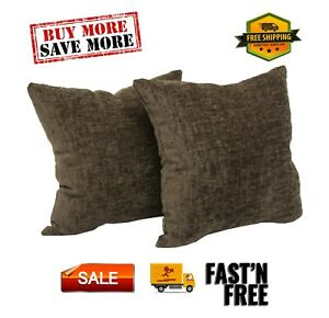 "Chenille Decorative Throw Pillow 2 Pack Set For Sofa, 18x18"", Soft, Many Colors!"