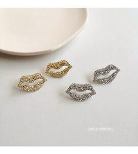 Twinkling Big Lip Silver or Gold Clear Czech Crystal Earrings 3.4cm(H)  1.9cm(W)