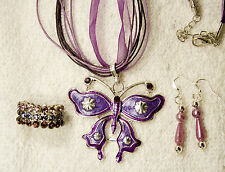 jewelry set  new necklace earrings pendant ring purple crystal butterfly silver