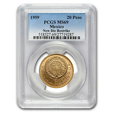 1959 Mexico 20 Pesos Gold Coin - Restrike - MS-69 PCGS - SKU #77383