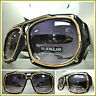 Men's CLASSIC VINTAGE RETRO HIP HOP RAPPER Style SUN GLASSES Black & Gold Frame