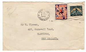 South Africa 1948 cover Cape Town KAAPSTAD to NZ with 1d TB Christmas cinderella