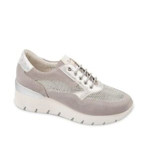 VALLEVERDE 18252 Sneakers Wedge Women's Grey Leather Perforated Ultralight
