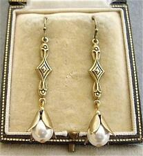 Elegant Vintage Cream Glass Faux Pearl Drop Earrings