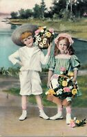 Children with flower baskets Postcard 03.10