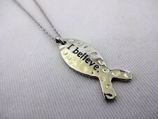 Religious fish necklace silver base metal cable chain Christian