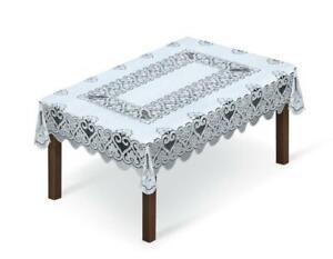"Tablecloth rectangular lace white / grey NEW 39"" x 59"" (100x150cm) X'mas gift"