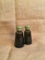 Vintage Glass Emerald Green 70's Kitchen Salt And Pepper Shakers