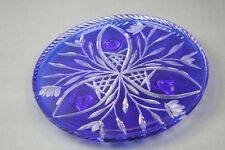 """Bohemian Czech Glass Footed Cake Stand Tray Platter Cut to Clear Cobalt Blue 11"""""""