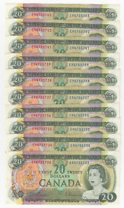 Lot of 10 Consecutive 1969 Bank of Canada $20 Notes - Nice Unc's - ER Prefix