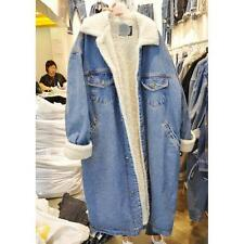 Girl Ladies Winter Fleece Lining Thick Long Denim Jeans Coat Big Lapel Jacket