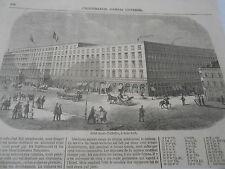 Gravure 1857 Hotel Saint Nicholas à New York