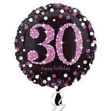 Rosa Celebración 30th Globo de Cumpleaños Destellos Negro Decoración Fiesta