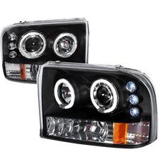99-04 Ford F250 F350 Super Duty Projectors Black Housing 1PC Headlights Halo LED