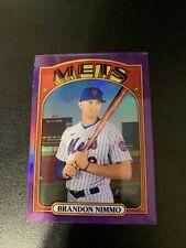 2021 Topps Heritage #440 Brandon Nimmo Purple Chrome Refractor Short Print Mets