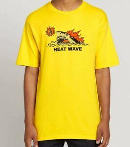 Volcom Big Boys Youth L Short Sleeve T-Shirt Tee Yellow Hot Shark Heat Wave