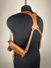 Leather Vertical/ Horizontal Cross Harness Shoulder Gun Holster Genuine leather