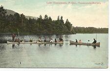 Lake Tamascouata Quebec Canada Canoe Scene Tamascouata Railway Postcard 1902