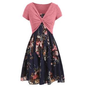 2tlg Damen Kleid Set Swing Sommerkleid Träger Partykleid Petticoat Cardigan DE
