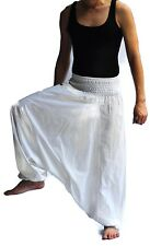Thai fisherman pants Yoga Harem White Samurai Japanese pants cotton, Free size
