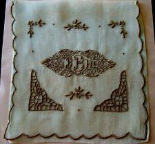GORGEOUS Vintage MADEIRA Organdy Hanky Case Hand Embroidered B Monogram