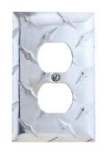 Amerelle  Diamond  1 gang Stamped Aluminum  Duplex Outlet  Wall Plate  1 pk