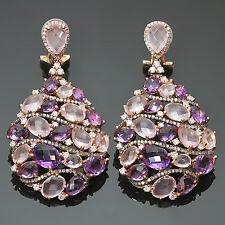 MANFREDI Laser-Cut Amethyst Diamond 18k Yellow Rose Gold Drop Earrings