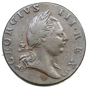 1773 No Period Virginia Half Penny Colonial Copper Coin 1/2p
