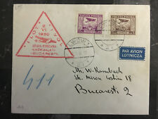 1930 Lvov Poland Airmail First Flight Cover FFC to Bucharest Romania 128 Flown