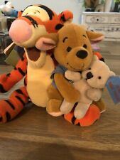 "2001 Disney Store Mini Bean Bag Plush ""Friendship Day"" Tigger & Roo w Teddy Bear"