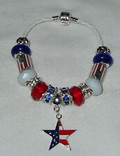 American Fag Patriotic 4th of July Stainless Steel European Bracelet