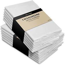12pc Quality WHITE Soft COTTON Linen REUSABLE Dinner NAPKINS Holiday TABLE DECOR